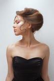 概念秀丽画象 深色的模型 青年和皮肤Care.Beauty画象妇女 库存照片