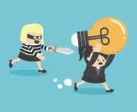 概念窃取想法事务的动画片窃贼 图库摄影