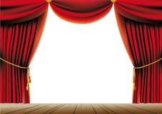 概念窗帘介绍红色显示阶段剧院 免版税库存图片