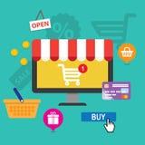 概念网上购物和电子商务 免版税库存照片