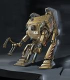 概念艺术机器人装载者或机器人的科幻例证 向量例证
