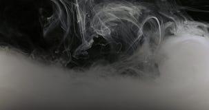 概念艺术白色油漆在作为烟的水中在慢动作 库存图片