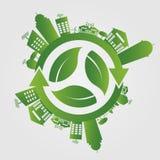 概念许多生态的图象我的投资组合 除世界之外 GGreen市帮助与环境友好的概念的世界 也corel凹道例证向量 皇族释放例证