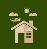 概念许多生态的图象我的投资组合 议院纸裁减绿色背景的 向量 免版税库存图片