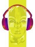 概念音乐的盖子 人听的音乐的抽象传染媒介与耳机 艺术性的handdraw设计 向量 免版税库存照片