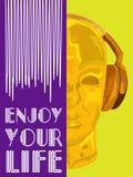 概念音乐的盖子 人听的音乐的抽象传染媒介与耳机 艺术性的handdraw设计 向量 库存图片