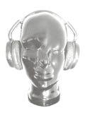 概念音乐 听的音乐的抽象传染媒介与耳机 艺术性的概述设计 也corel凹道例证向量 免版税库存照片