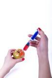概念食物基因修改注射器蕃茄 库存图片