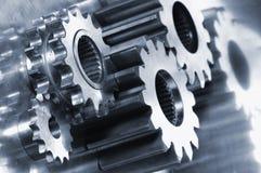 概念齿轮机械银灰色 免版税库存照片