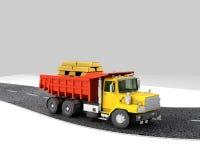 概念,有金子的卡车在后面是 免版税库存照片