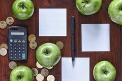 概念:事务,投资,充实,后勤学,计划 绿色苹果、金币、计算器和纸词条的在Th 库存照片