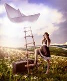 概念-作梦关于旅行的幻想。 库存照片