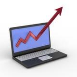 概念财务增长膝上型计算机 库存图片