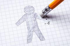 概念 手损失,截肢术 画与人铅笔用一只删掉的手 免版税库存照片