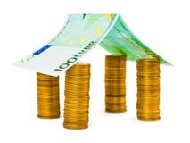 概念费用房主房子图象挣的货币表示 免版税库存照片