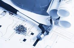 概念建筑手指金子安置关键字 免版税图库摄影
