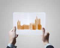 概念建筑手指金子安置关键字 免版税库存图片