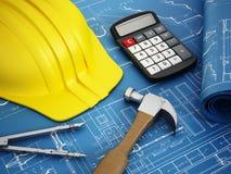 概念建筑手指金子安置关键字 免版税库存照片