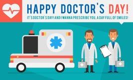 概念医治Day Ambulance Car和两位医生Holding Suitca 免版税图库摄影