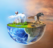 概念eco和平鸽子 地球半球形与轻的边的 免版税库存照片