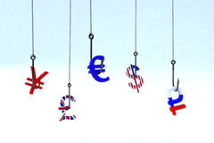 概念phishing的货币 库存照片