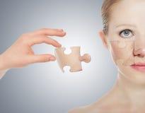 概念skincare。 秀丽妇女皮肤  免版税库存图片
