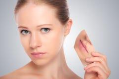 概念skincare。 秀丽妇女皮肤  免版税库存照片