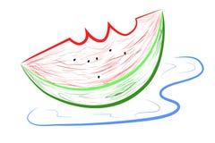 概略五颜六色的西瓜,使用图形输入板的凹道,隔绝在白色 向量例证