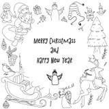 概略传染媒介手拉的乱画动画片套对象和标志在新年和圣诞节题材 库存照片