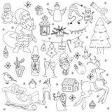 概略传染媒介手拉的乱画动画片套对象和标志在新年和圣诞节题材 图库摄影