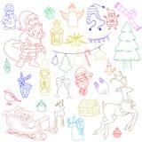 概略传染媒介手拉的乱画动画片套对象和标志在新年和圣诞节题材 免版税库存图片