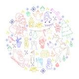 概略传染媒介手拉的乱画动画片套对象和标志在新年和圣诞节题材 免版税库存照片
