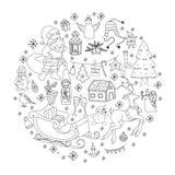 概略传染媒介手拉的乱画动画片套对象和标志在新年题材 免版税库存照片