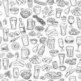 概略啤酒和快餐,无缝的背景 免版税图库摄影