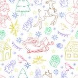 概略无缝的样式传染媒介手拉的乱画动画片套对象和标志在新年题材 库存图片