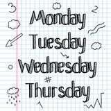 概略的乱画 一套标志,词,星期 图画递她的温暖的妇女年轻人的早晨内衣 棒 线描 乱画字法 向量例证
