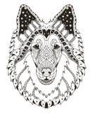 概略的大牧羊犬狗头zentangle传统化了,导航,例证, 库存照片