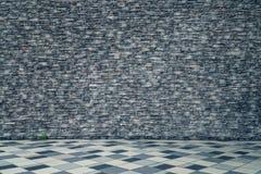 概略的砖墙纹理透视图 免版税库存照片