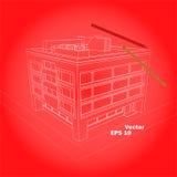 概要四红色背景的面粉房子 库存照片