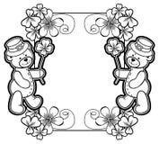 概述与三叶草等高和玩具熊的框架 光栅夹子 库存图片