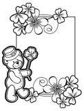 概述与三叶草等高和玩具熊的框架 光栅夹子 免版税图库摄影