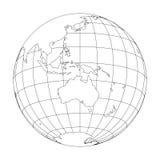 概述与于澳大利亚和大洋洲集中的世界地图的地球地球 也corel凹道例证向量 免版税库存照片