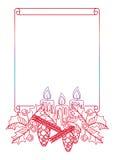 概述与圣诞节蜡烛、霍莉莓果和杉木锥体的梯度框架 免版税库存图片