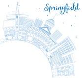 概述与蓝色大厦和拷贝空间的斯普林菲尔德地平线 向量例证