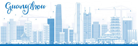 概述与蓝色大厦的广州地平线 库存照片