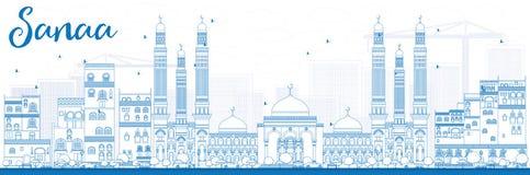 概述与蓝色大厦的萨纳(也门)地平线 库存图片