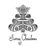 黑概述佩兹利圣诞快乐树 库存照片