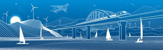 概述例证 看法从河到夜城市 在山的风车 在水的游艇 火车沿铁路桥移动 皇族释放例证