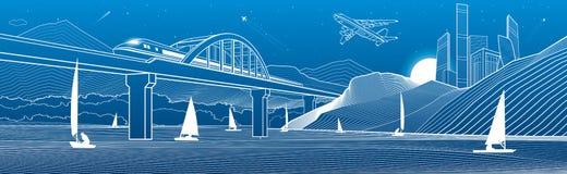 概述例证 看法从河到山的夜城市 在水的游艇 火车沿铁路桥移动 r 皇族释放例证