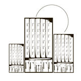 概述单色摩天大楼房子和太阳 库存图片